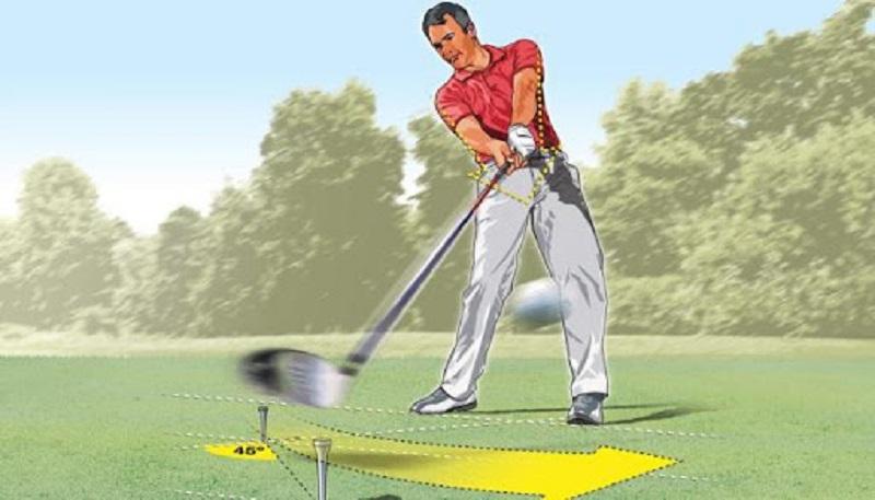 Trong tư thế đánh golf, người chơi cần chú ý nhiều tới độ rộng của hai chân