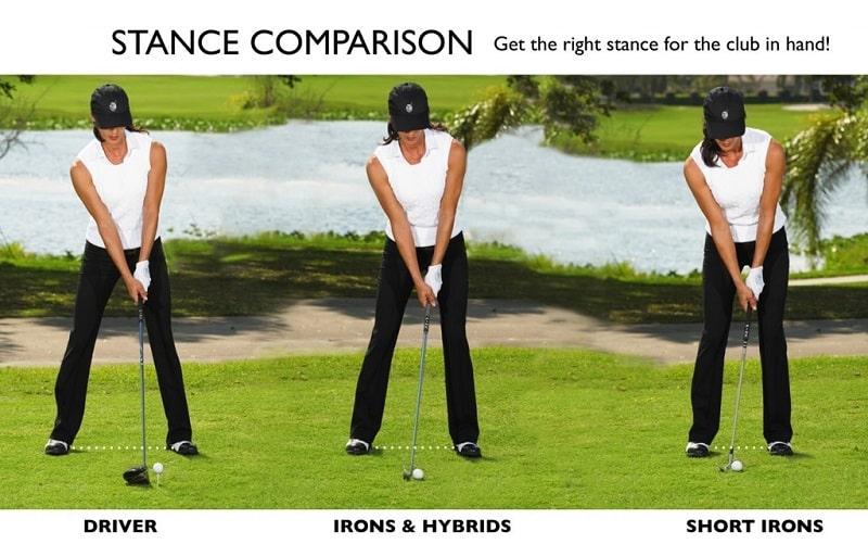 Tư thế setup trong golf theo từng loại gậy