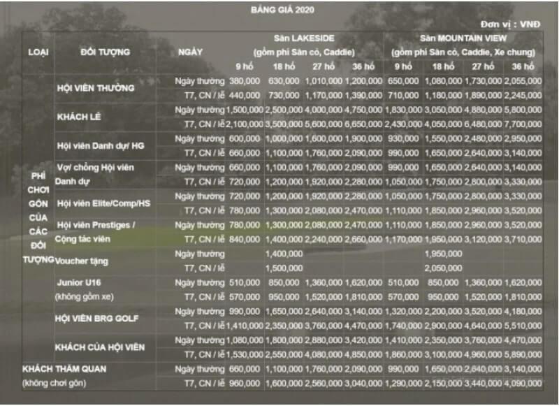 Bảng giá dịch vụ trên 2 sân Lakeside và Mountainview