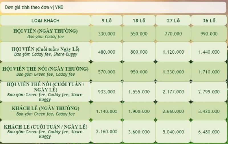 Phí chơi tại sân golf Long Thành thay đổi tùy thuộc vào đối tượng người chơi và thời gian sử dụng dịch vụ