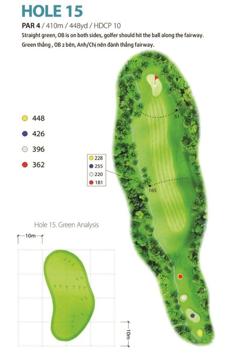 Hố golf 15 được kiến trúc sư thiết kế để mô phỏng chiến dịch lịch sử Điện Biên Phủ