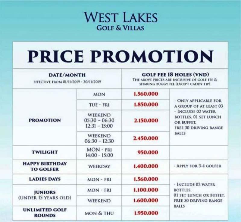 Bảng giá chi tiết tại sân golf West Lake